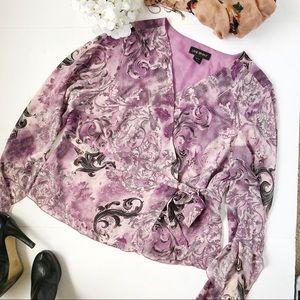 3/$20 Lane Bryant purple paisley wrap shirt